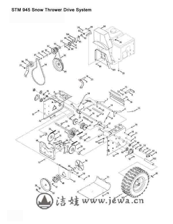哪里有扫雪机结构图,怎么更换配件?